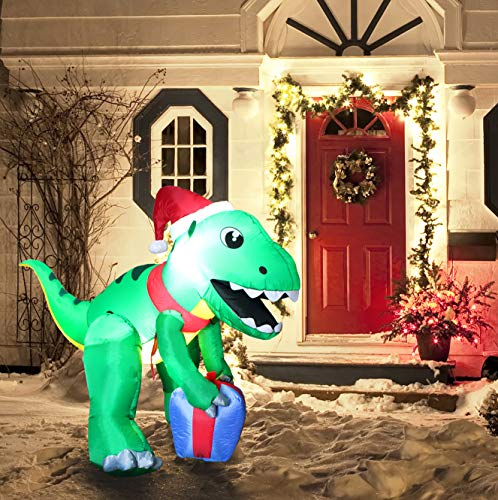 Joiedomi Christmas Inflatable Decoration 5 ft Dinosaur Self Inflatable LED Light Up Giant Christmas Blow Up Yard Décor for Xmas Holiday Indoor/Outdoor Garden Party Favor Supplies