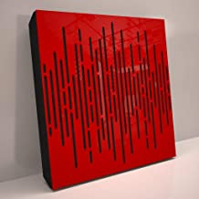 4pcs. Sound Absorption-Diffuse Acoustic Panel «Wave» for rec.studio | Red glossy (palstic)