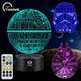3D Night Light for Kids Star Wars Illusion Lamp Toy 7 Colors Changing Dimmable with Smart Touch and Remote Control Unique and Cool Gift Ideas for Star Wars Fans Women Men Boys Birthday-3PC