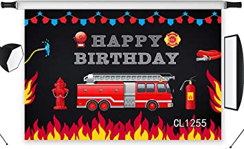Zhy Fire Fighting Truck Backdrop 7x5ft//2.1x1.5m New Vinyl Red Stripe Photography Background Happy Birthday Party Banner Photo Shooting Props 278