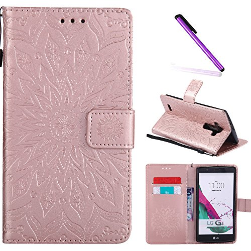 LG G4 Case,LEECOCO Fancy Embossed Floral Pattern Wallet Case with Card / Cash Slots [Kickstand] Shockproof Premium PU Leather Flip Case Cover for LG G4 with 1 x Stylus Pen Mandala Rose Gold