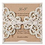 Wishmade 20 tarjetas de invitaciones de encaje con lazo, cor