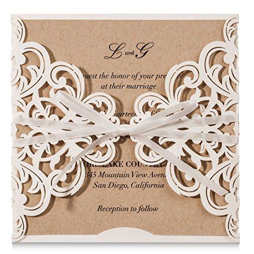 Wishmade 20 tarjetas de invitaciones de encaje con lazo, cortadas con láser, para boda, boda, novia, compromiso, cumpleaños, baby shower y papel kraft imprimible (juego de 20 unidades).