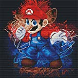 Super Mario Cross Stitch Kits - Counted Cross Stitch Kit, Cross-Stitching Black Background with 11CT White Fabric - DIY Art Crafts & Sewing Needle Points Kit for Home Decor14.2×14.2Inch