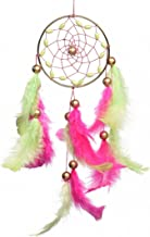 Rooh dream catcher ~ Freesia Pink Car Hanging ~ Handmade Hangings for Positivity (Can be used as Home Décor Accents, Wall Hangings, Garden, Car, Outdoor, Bedroom, Key chain, Meditation Room, Yoga Temple, Windchime)