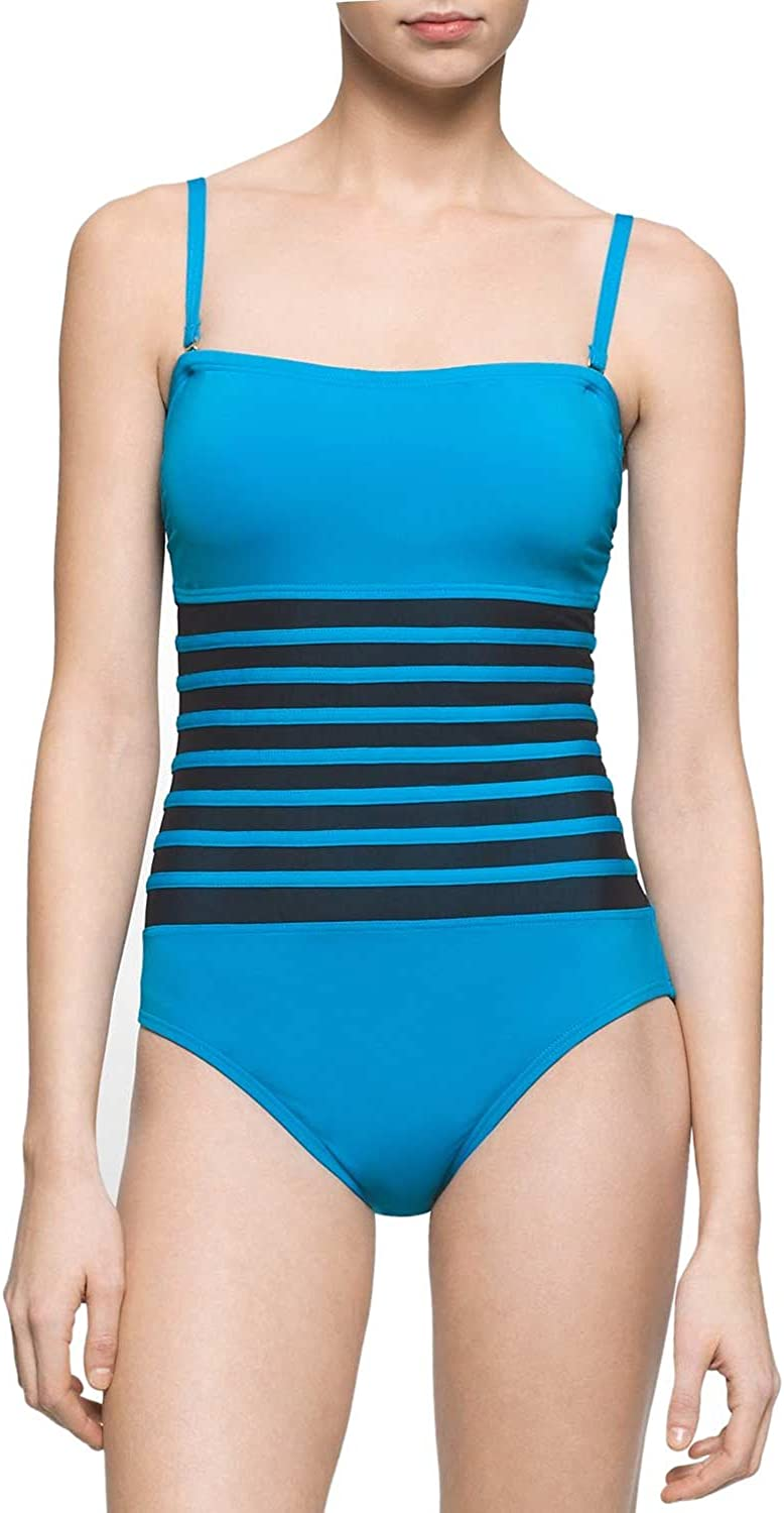 Calvin Max 82% OFF Klein Ranking TOP19 Women's Binding Overlay Rem One Swimsuit Piece with