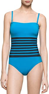 Calvin Klein Womens Binding Overlay One Piece Swimsuit with Removable Soft Cups One-Piece Swimsuit