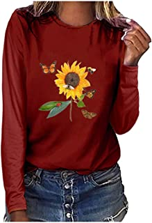 Holzkary Women's Casual Tops Trendy Print Basic Sweatershirts Long Sleeve Round Neck Pullover Soft Blouse