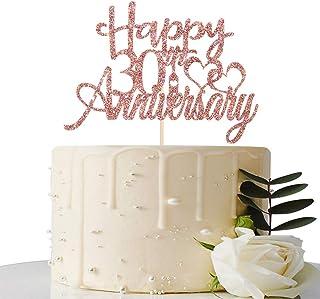 Maicaiffe Rose Gold Glitter Happy 30th Anniversary Cake Topper - for 30th Wedding Anniversary / 30th Anniversary / 30th Bi...