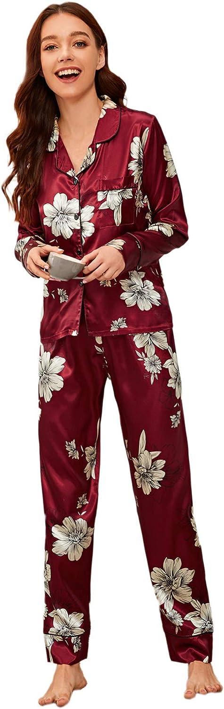 Milumia Women's Pajamas Set Floral Print Button Down Satin Sleepwear Long Sleeve Nightwear Pants Loungewear