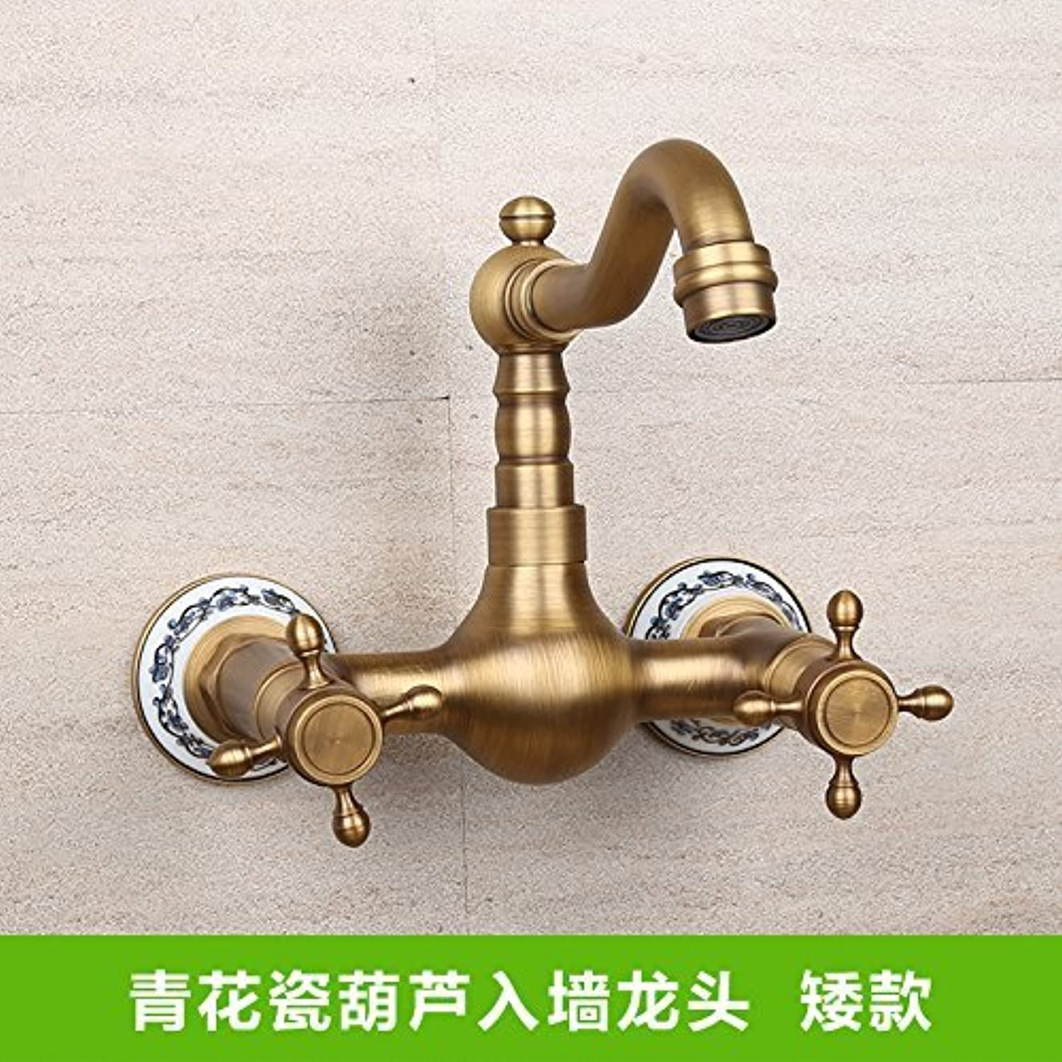 Oudan Antique Sink Mixer Tap Bathroom Wall-Mounted Hot and Cold and Double-Hole Lowe