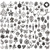TR.OD Wholesale 100 Pieces Tibetan Silver Plated Mixed Jungle Animal Plant Charms Pendants