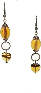 Orecchini lunghi color ambra con perle in vetro di Murano fatte a mano e cuore