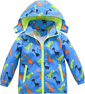 Boys Girls Jacket Hooded Trench Dinosaur Zip Lightweight Kids rain Coat Windbreaker Outdoor