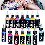 14Pcs Tattoo Ink 14 Colors Set 1 oz 30ml/Bottle Tattoo inks Pigment Kit for 3D makeup beauty skin body art.