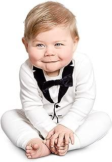 Tuxedo Onesie for Fancy Baby Boys, Satin Bow-Tie, Original Swedish Design