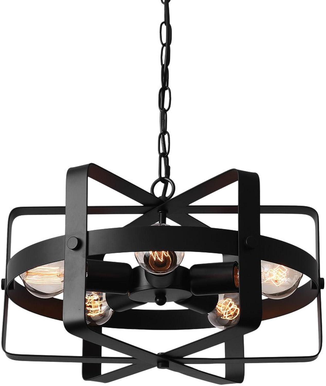 Lingkai Industrial Pendant Light Metal Drum Shape Round Chandelier Vintage 5-Light Ceiling Hanging Light Fixture