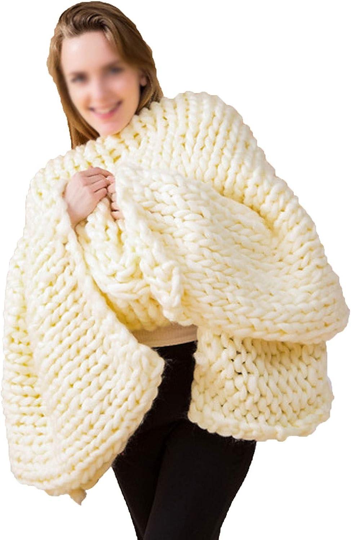 Breathable Chunky Throw Blanket Merino 100% quality warranty Wholesale Handmade Woo Knit