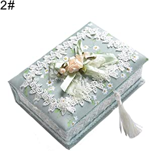 quysvnvqt Fashion Storage Box Storage Supplies Children Girl Flower Lace Jewelry Storage Container Necklace Ring Organizer Box for Home - 2