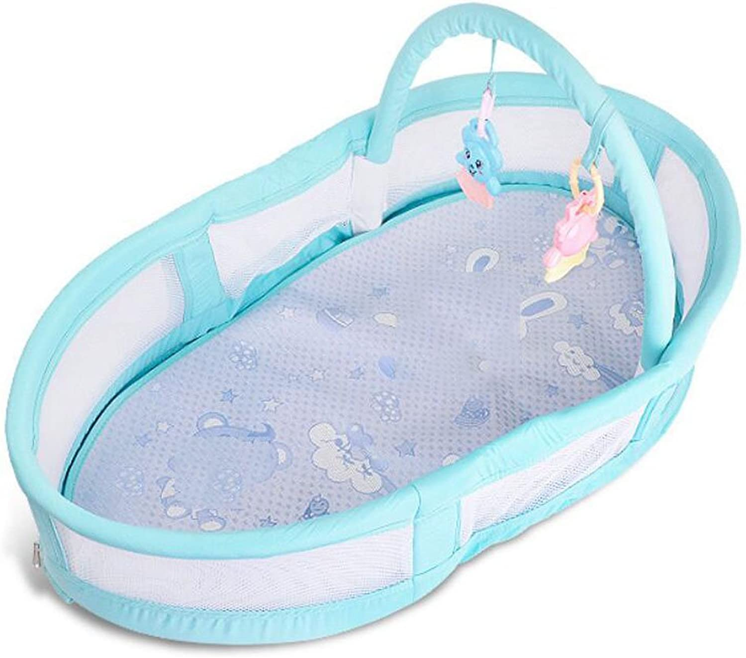 Newborn Crib Multifunction Portable Bedding Gift Box Crib Foldable for 1-12 Months Baby bluee (color   blueE)