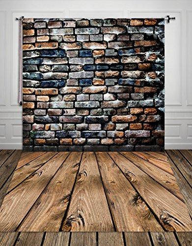 Coloc fotobehang, 150 x 220 cm, emulational, oude muur, bakstenen en houten vloeren, bedrukt, fotografie, achtergrond XT-506