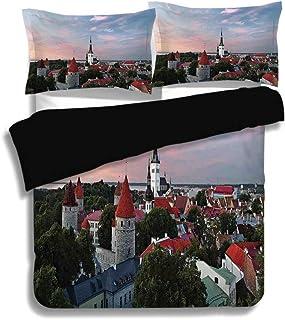 Juego de funda nórdica negra, decoración de Wanderlust, Sunset Sun Lights nubes para colorear sobre el centro de la ciudad vieja de Tallin, Estonia Imagen decorativa, juego de cama decorativo de 3 pie