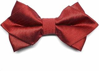 Red Herringbone Diamond Tip Bow Tie