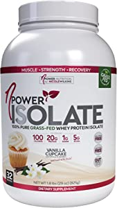 nPower Nutrition Grass Fed Whey Protein Isolate Powder, Vanilla Cupcake, 20g Protein, 5g BCAA, Low Carb, Lactose Free, 1.8 lb Tub