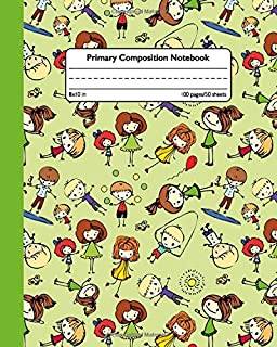 Primary Composition Notebook: Cute Children Composition School Book and Drawing Diary for Grades K-2 - Funny Handwriting Notebook for Boys & Girls with Dashed Mid-line and Story Paper Journal