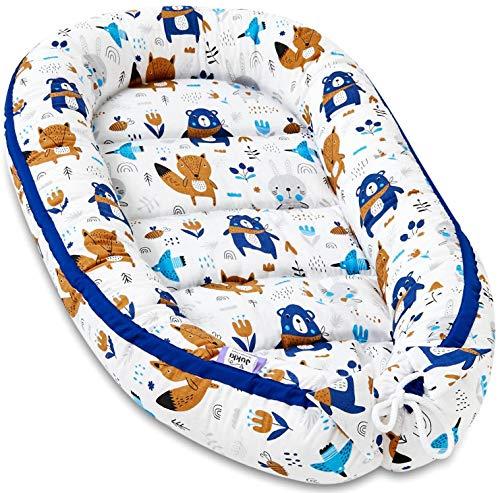 JUKKI® Babynest Babynestchen 50x90 cm Babykokon, 2seitig, 100% Baumwolle, Kissen, Nestchen für Babybett, Kuschelnest, Reisebett für Baby und Säuglinge