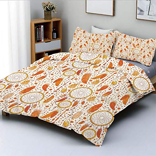 Duplex Print Duvet Cover Set King Size,Various Sized Dreamcatchers Native Mystical Change Symbol Illustration DecorativeDecorative 3 Piece Bedding Set with 2 Pillow Sham,Orange White,Best Gift For Kid