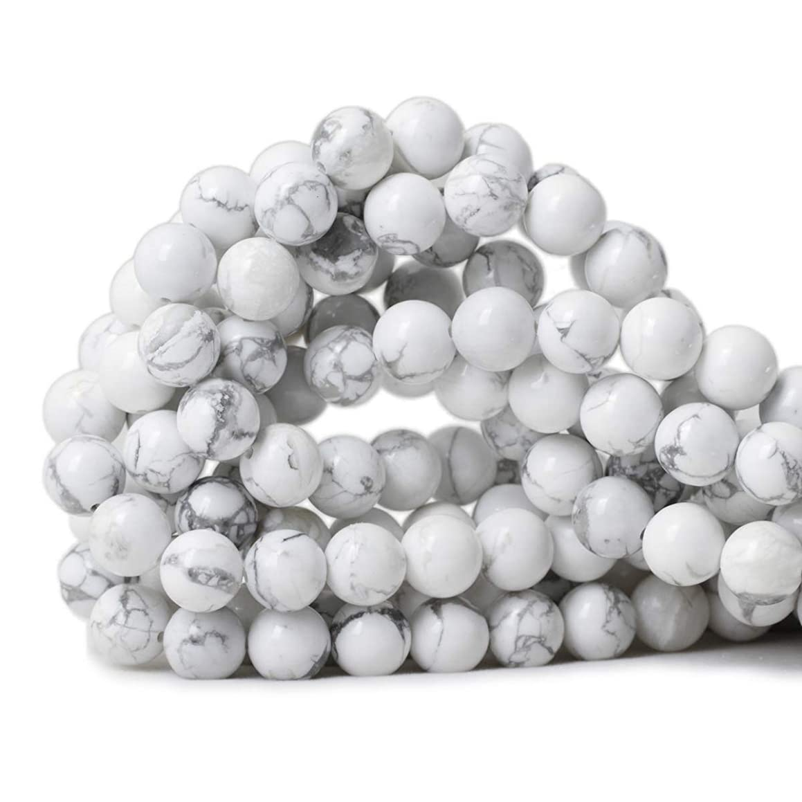 Qiwan 35PCS 10mm Gorgeous Natural White Howlite Round Beads Gemstone Loose Beads for Jewelry Making 1 Strand 15