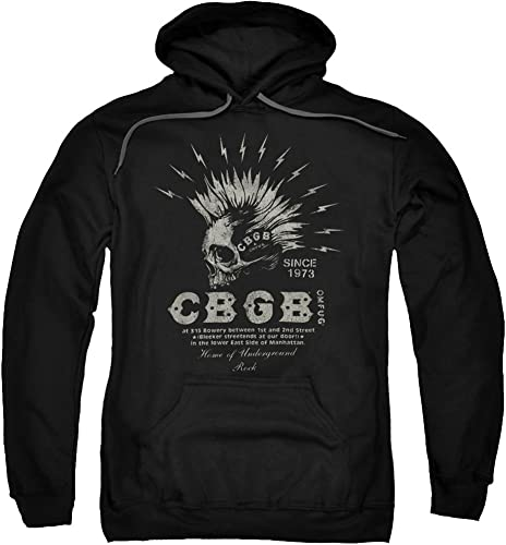 Trevco CBGB 80Club de Musique électrique Logo Tête de Mort pour Adulte Chandail à Capuche