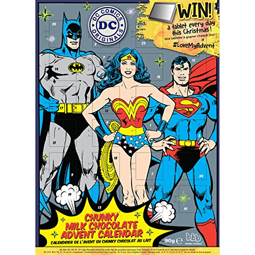 DC Comics Premium Calendario dell' Avvento Batman Superman Wonder Woman – con 90 G Cioccolato al latte
