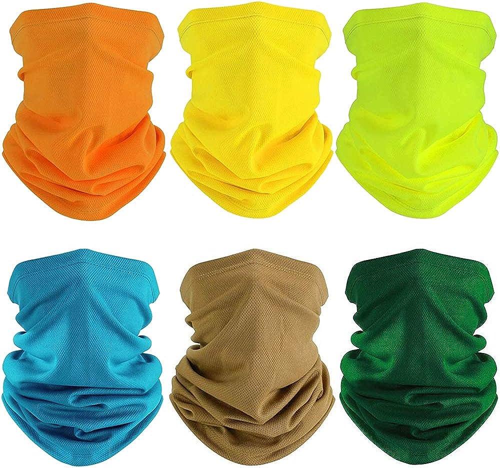 FengleMa 6 Pieces Summer Face Mask UV Protection Neck Gaiter Scarf Sunscreen Breathable Bandana