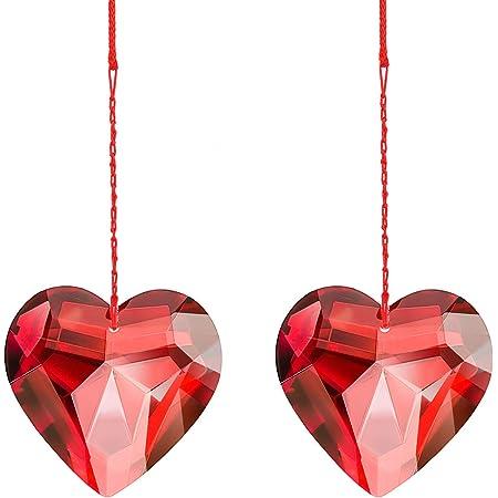 Red tribal heart glass suncatcher 6 x 4 inches