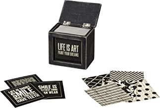 Primitives by Kathy Classic Black and White Hinged Box, Words of Wisdom