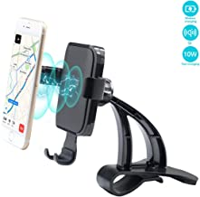 WJM Wireless Charging Cell Phone Stand for Tesla Model 3 Wireless Charger Car Mount Gravity Mobile Holder with Stable Clip Base Compatible with All Smart Phones up to 6.5