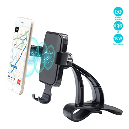 WJM Wireless Charging Cell Phone Stand for Tesla Model 3 Wireless Charger Car Mount Gravity Mobile Holder with Stable Clip Base Compatible with All Smart Phones up to 6.5""