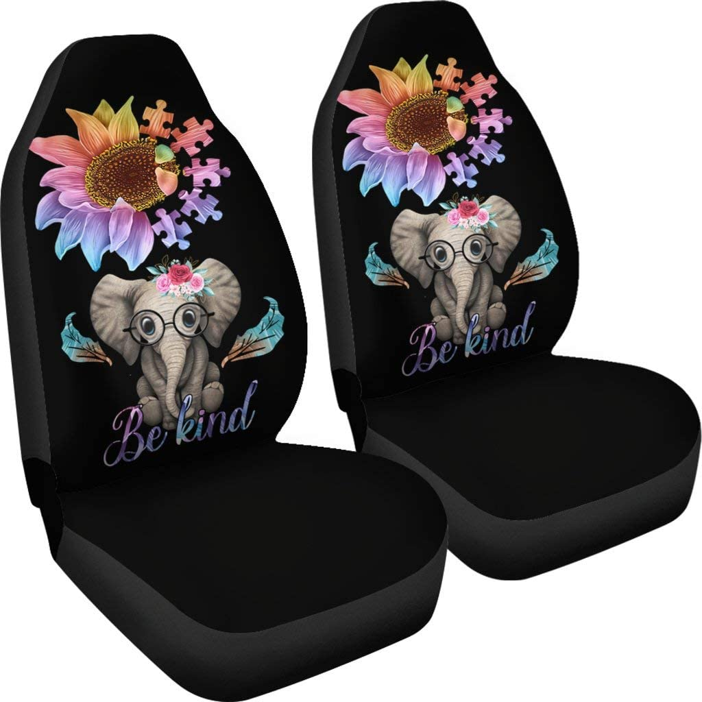CHICKYSHIRT Sunflower Elephant Be NEW before selling ☆ Kind Ca Covers Seat Car Luxury goods Front