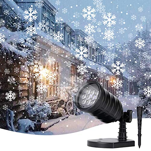 Brightown Christmas Snowflake Projector Lights - LED Snowfall Show Outdoor Waterproof Landscape Decorative Lighting for Xmas Holiday Party Wedding Garden Patio