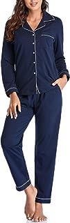 بيجامات نوم نسائية مصنوعة من القطن بنسبة 100% من COLORFULLEAF بياقة واسعة ملابس مريحة بأزرار سفلية