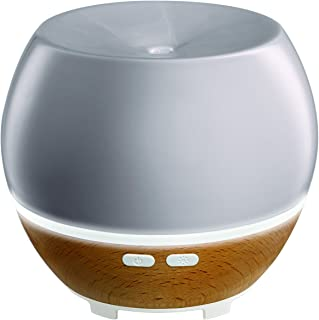 Ellia, Awaken Ultrasonic Essential Oil Diffuser (Grey), Ceramic & Wood, 6hrs Continuous & 12hrs Intermittent Runtime, Color-Changing Light, 3 Essential Oil Samples