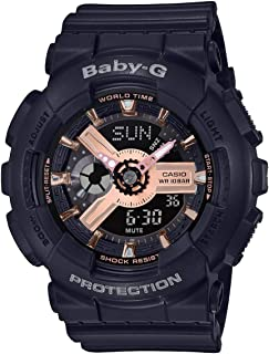 ساعة كاسيو النسائية بيبي جي BA110RG-1A - لون أسود من البلاستيك المطاطي 43.4 ملم