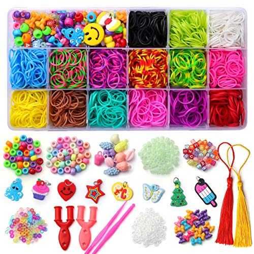 Mocoosy Loom Rubber Bands for Kids Bracelet Making Kit, Over 2200 Colored Loom Bands Refill Set, DIY Rainbow Rubber Bands Crafts for Girls Boys Great Gifts