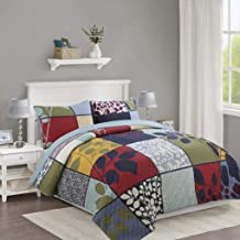 230x250cm Patchwork Bedspread with 2 Pillowcases Vintage Pattern Coverlet Bed Cover Throw, 230x250cm