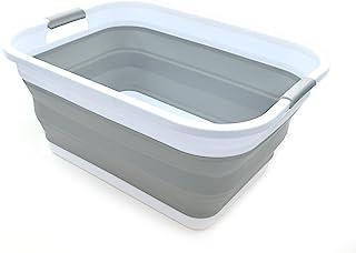 Sammart Panier à linge pliable en plastique – Boîte de rangement pliable et rétractable – Cuve de nettoyage portable – Pan...