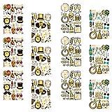 ifundom 12 Hojas de Fiesta de Año Nuevo Tatuajes Pegatinas Set Glitter Negro Dorado Tatuajes Temporales 2021 Nye Party Supplies