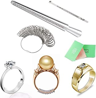 NNIOV All in ONE Kit – US 0-17 Ring Sizer Tools & Ring Size Adjuster for Loose Rings - Aluminium Ring Sizer Mandrel and Stainless Steel Gauge Set with Jewelry Polishing Cloth (Metal Set of 67Pcs)