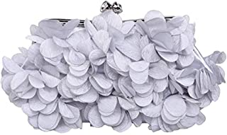 Evening Bag——Women's Satin Flower Clutch, Handbag, Elegant and Charming, Evening Bag, Wallet, Party, Banquet, Cocktail Party (Color : Gray)